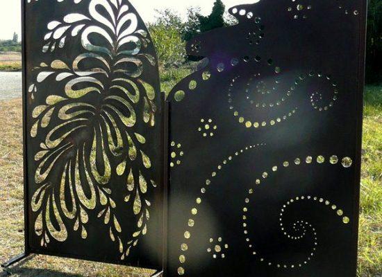 Panneau separation motif metal rouille Paravent