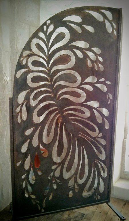 Paravent panneau separation motif metal rouille