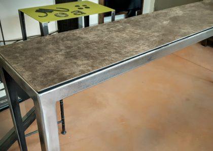 Console acier brossé, plateau cuir sur acier