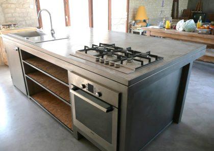 Comptoir central cuisine en inox